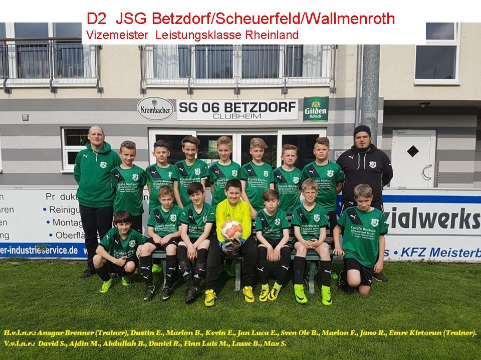 D2 JSG Betzdorf/Scheuerfeld/Wallmenroth  Vizemeister-Leistungsklasse Rheinland