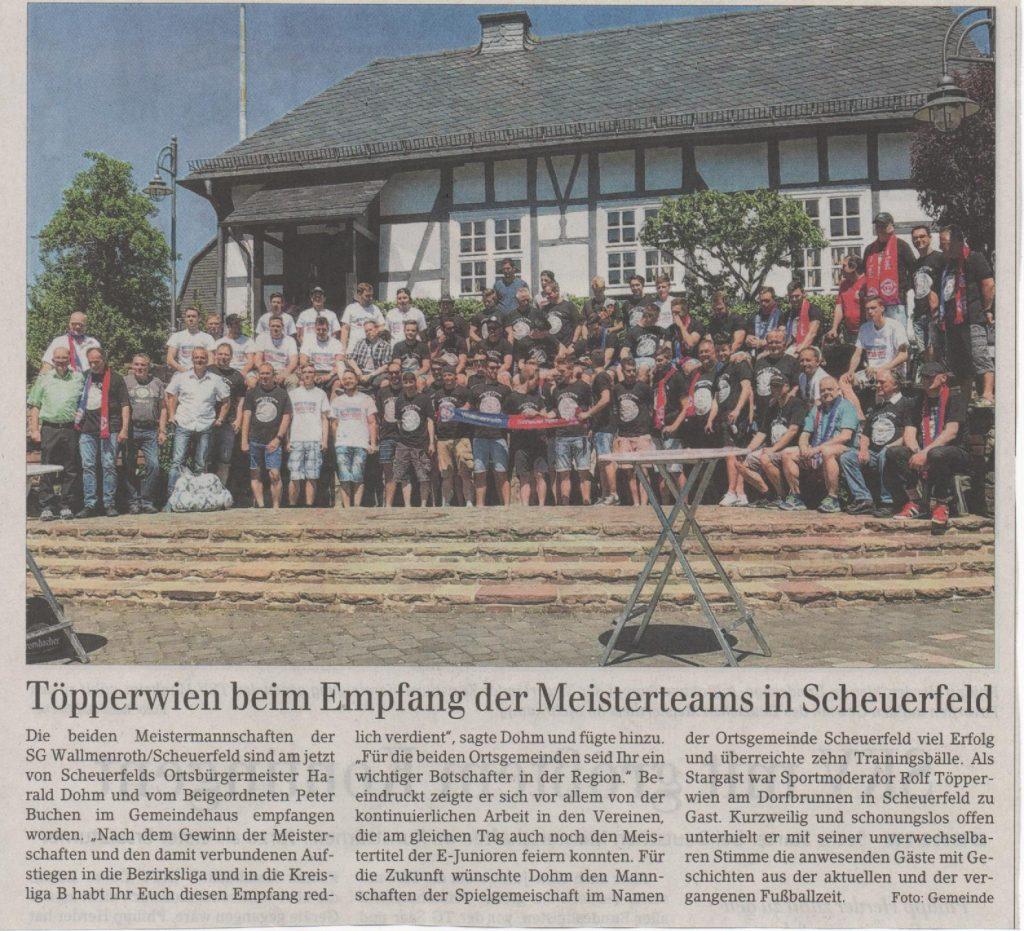Scheuerfeld-Empfang der Meisterteams