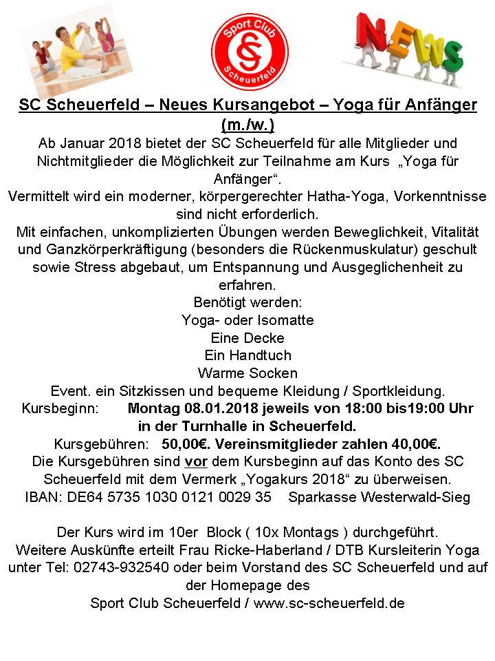 Ab 08.01.2018  Yoga für Anfänger